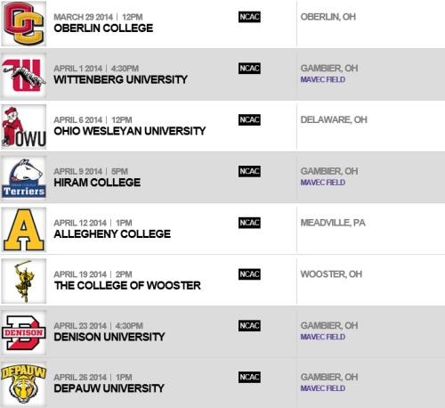 Kenyon College Women's Lacrosse 2014 Schedule 2