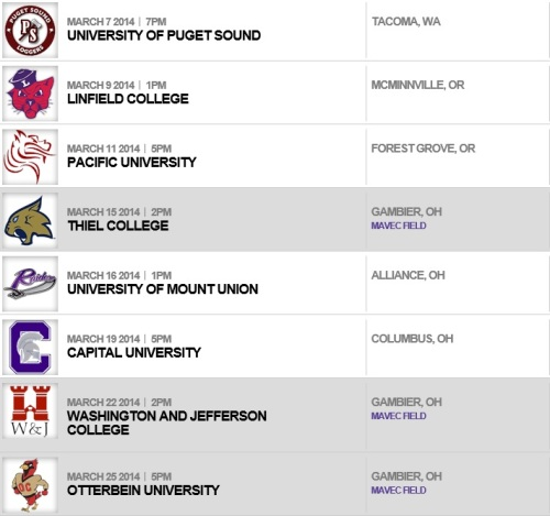 Kenyon College Women's Lacrosse 2014 Schedule