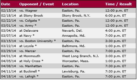 Lafayette Men's Lacrosse 2014 Schedule
