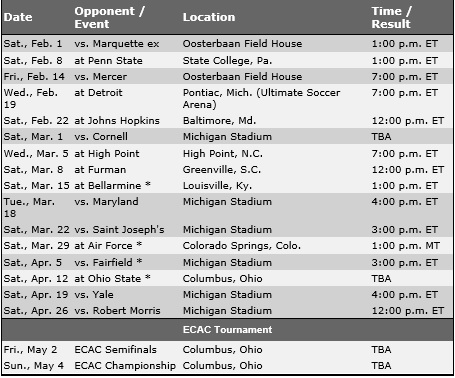 MIchigan Men's Lacrosse 2014 Schedule
