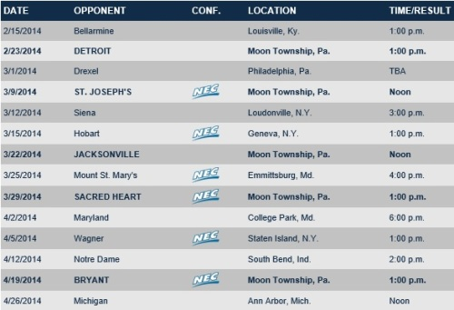 Robert Morris Men's Lacrosse 2014 Schedule
