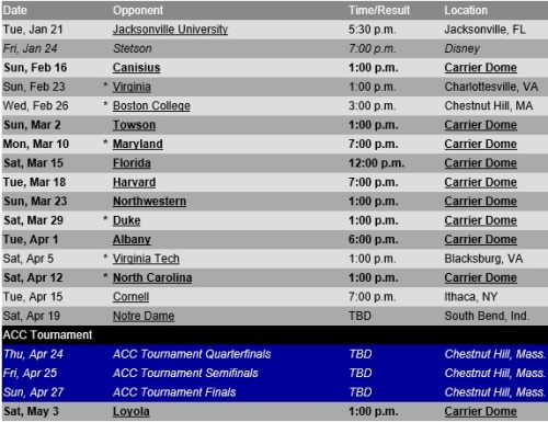 Syracuse Women's Lacrosse 2014 Schedule