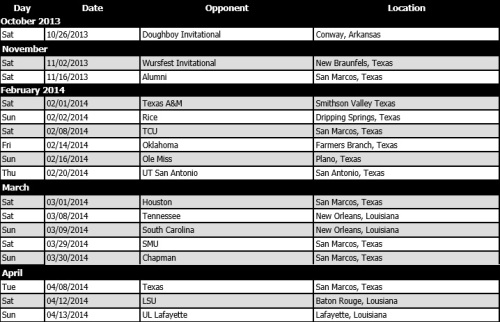 Texas State Men's Lacrosse 2014 Schedule