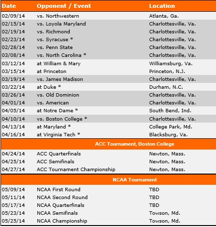 Virginia Women's Lacrosse 2014 Schedule