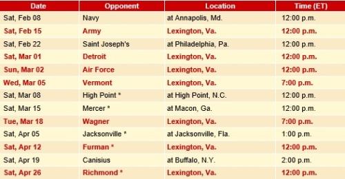 VMI Men's Lacrosse 2014 Schedule