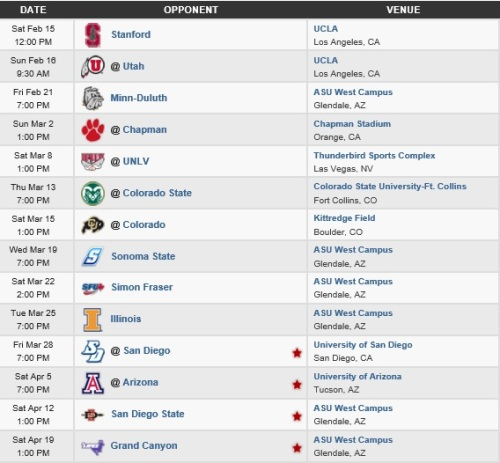 Arizona State Men's Lacrosse 2014 Schedule