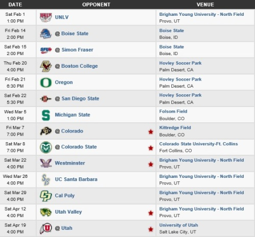 BYU Men's Lacrosse 2014 Schedule