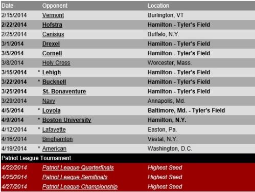 Colgate Women's Lacrosse 2014 Schedule