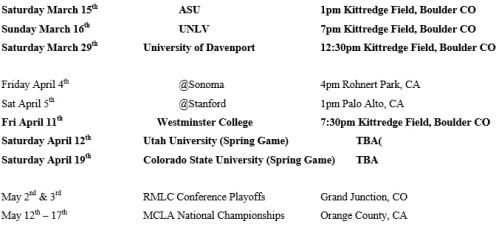 Colorado Men's Lacrosse 2014 Schedule 2