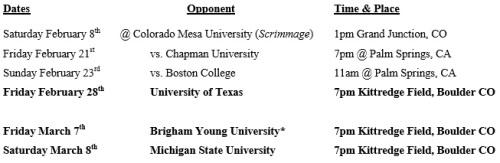 Colorado Men's Lacrosse 2014 Schedule