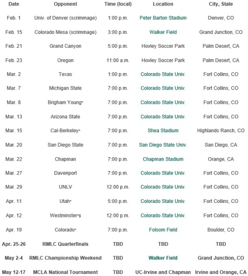 Colorado State Men's Lacrosse 2014 Schedule