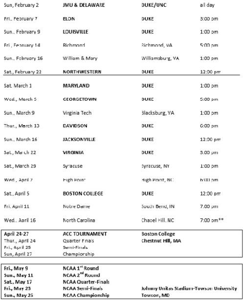 Duke Women's Lacrosse 2014 Schedule