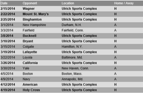Lehigh Women's Lacrosse 2014 Schedule