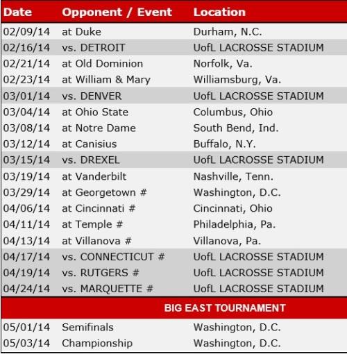 Louisville Women's Lacrosse 2014 Schedule