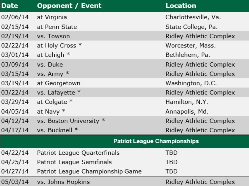 Loyola Men's Lacrosse 2014 Schedule