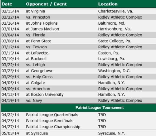 Loyola Women's Lacrosse 2014 Schedule