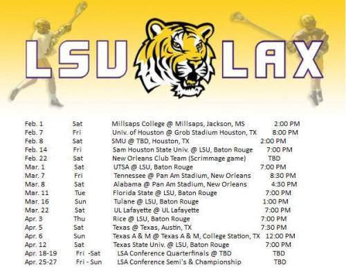 LSU Men's Lacrosse 2014 Schedule
