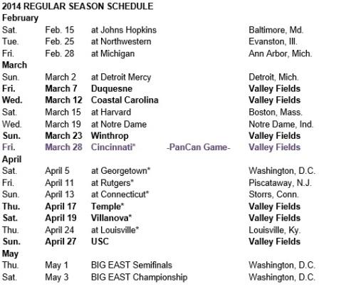 Marquette Women's Lacrosse 2014 Schedule