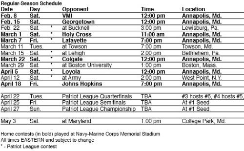 Navy Men's Lacrosse 2014 Schedule