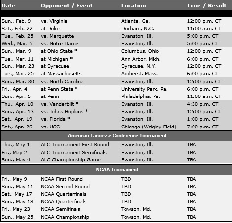 Northwestern Women's Lacrosse 2014 Schedule