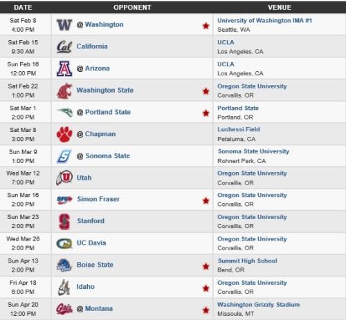 Oregon State Men's Lacrosse 2014 Schedule