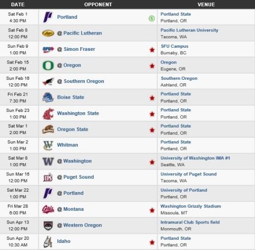Portland State Men's Lacrosse 2014 Schedule