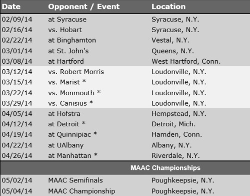 Siena Men's Lacrosse 2014 Schedule
