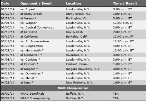 Siena Women's Lacrosse 2014 Schedule