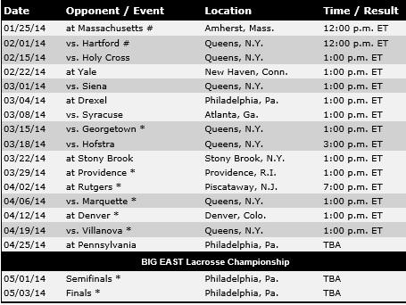 St. John's Men's Lacrosse 2014 Schedule