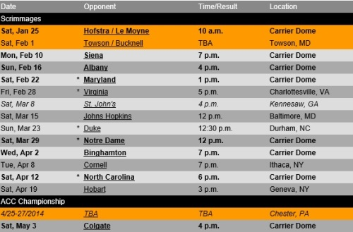 Syracuse Men's Lacrosse 2014 Schedule