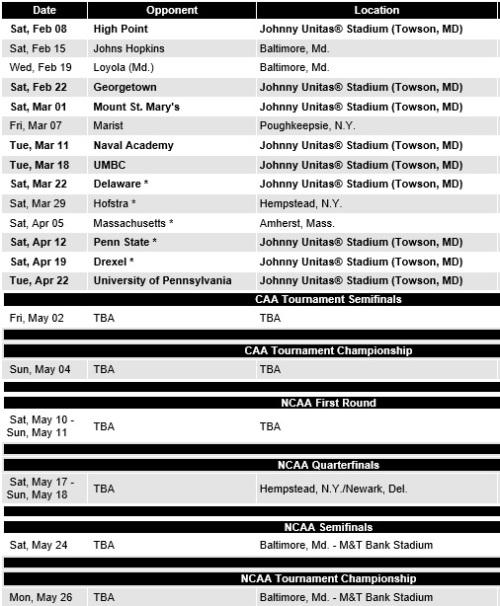 Towson Men's Lacrosse 2014 Schedule