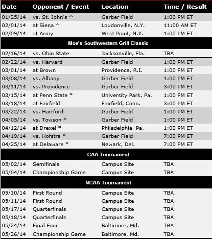 UMass Men's Lacrosse 2014 Schedule