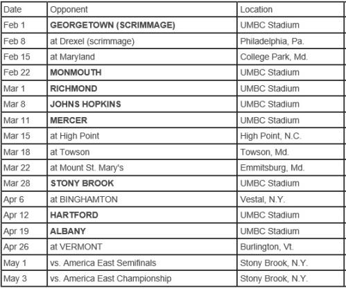 UMBC Men's Lacrosse 2014 Schedule
