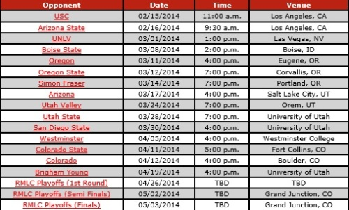 Utah Men's Lacrosse 2014 Schedule