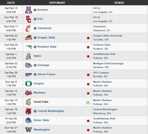 Washington State Men's Lacrosse 2014 Schedule