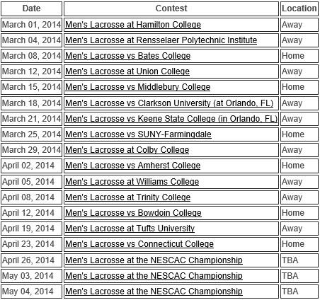 Wesleyan Men's Lacrosse 2014 Schedule
