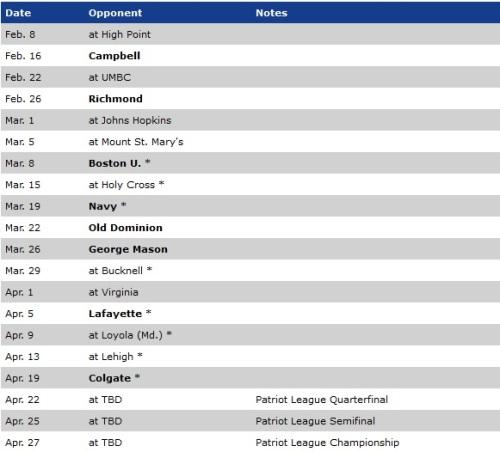 American Women's Lacrosse 2014 Schedule