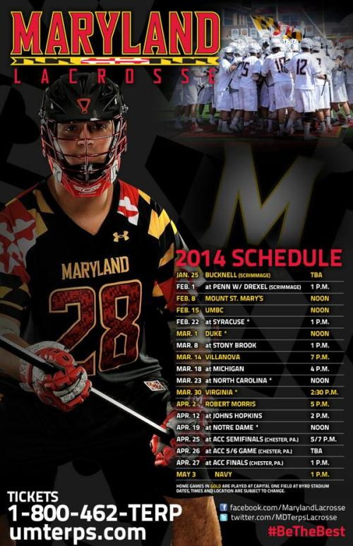 Maryland Men's Lacrosse 2014 Schedule