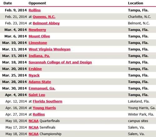 Tampa Women's Lacrosse 2014 Schedule
