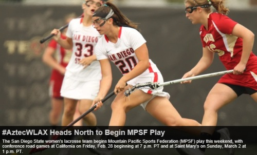 The San Diego State women's lacrosse team begins Mountain Pacific Sports Federation (MPSF) play this weekend, with conference road games at California on Friday, Feb. 28 beginning at 7 p.m. PT and at Saint Mary's on Sunday, March 2 at 1 p.m. PT. Live stats for both games will be available on GoAztecs.com.