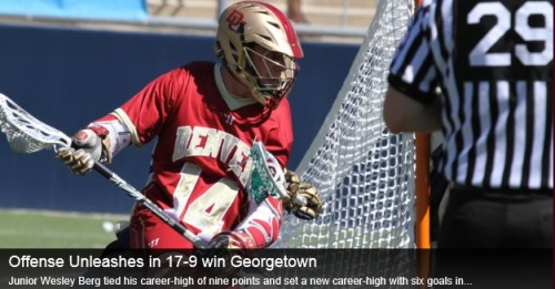"Led by a career-high performance from junior Wesley Berg (Coquitlam, B.C.), the No. 6/6 University of Denver men's lacrosse team defeated Georgetown 17-9 on the road on Saturday afternoon at the Multi-Sport Field in Washington, D.C. The win brings the Pioneers to 8-2 on the season, while the Hoyas falls to 3-7. Denver is also 2-0 in BIG EAST play.   ""I'm really proud of these guys,"" said head coach Bill Tierney. ""We had a lot going against us this week in traveling to the east coast where the weather was a little ugly, and playing with different offensive personnel than we normally do. Georgetown is a hungry team and really made it difficult for us in the beginning. Credit goes to Wesley Berg for stepping up when we needed him to and for our entire team in filling in where we had some holes."" Berg tied his career-high of nine points off a career-high six goals and a career-high three assists. Berg previously tallied nine points in the Pioneers' NCAA Tournament First Round win over Albany on May 11, 2013. Berg's six goals also gives him his first sock trick of the season, fourth of his career. Sophomore transfer Jack Bobzien (Littleton, Colo.) also tied his career high in points, finishing with six off four goals and two assists. Freshman Dallas Bridle (Orangeville, Ontario) started his first collegiate game for the Pioneers, scoring a career-high three goals for his first hat trick. Senior Jeremy Noble (Orangeville, Ontario) finished with two goals and an assist for three points, while junior Erik Adamson (Anaheim Hills, Calif.) and sophomore transfer Bryce Parietti (Centennial, Colo.) both finished with a goal each. Parietti's goal was the first as a Pioneer. Freshmen Max Planning (Alexandria, Va.), Tyler Pace (Mission, B.C.) and Mike Babb (Denver, Colo.) all finished with an assist each. Sophomore face-off specialist Chris Hampton (Bethesda, Md.) won 5-of-13 face-offs and grabbed three ground balls, while sophomores Christian Thomas (Highlands Ranch, Colo.) and Joe Bano (Dublin, Ohio) also saw action. Junior Ryan LaPlante (Fort Collins, Colo.) finished with six saves in the first half, while senior Jamie Faus (Lakeville, Conn.) made two saves. Sophomore Joey Gigantiello (Shamong, N.J.) made two saves. Junior Garret Holst (Fishers, Ind.) caused a career- and game-high three turnovers, while Noble and sophomore Pat Karole (Glen Ridge, N.J.) both finished with two caused turnovers each. Denver remains on the road, traveling to Villanova, Pa., to take on the Wildcats on Friday, April 4 at 5 p.m. MT. The game will be televised live on CBS Sports Network."