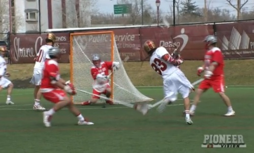"The No. 8/9 University of Denver men's lacrosse team was led by a career performance from freshman Zach Miller (Steamburg, N.Y.) in its 9-5 win over Ohio State at Peter Barton Lacrosse Stadium on Saturday afternoon in front of a sold-out crowd of 2,500 fans. Miller finished with a career-high five goals to go along with two assists for a career-high seven points. ""This was a great team win for us today,"" said head coach Bill Tierney. ""Even though Zach scored a majority of our goals, it took our entire offense to come together to get him those open looks. Our defense really stepped up big, helping out Ryan and Jamie in goal today. For a team to play three games in a week and also secure three wins over two top-10 teams during that stretch is a huge feat."" Freshman Tyler Pace (Mission, B.C.) finished with two goals, while senior captain Jeremy Noble (Orangeville, Ontario) netted one goal and two assists for three points. Also scoring for the Pioneers was junior Erik Adamson (Anaheim Hills, Calif.) with one goal, while junior Wesley Berg (Coquitlam, B.C.) tallied one assist. Sophomore Joe Bano (Dublin, Ohio) won 9-of-16 face-offs, while also grabbing a game-high four ground balls. Junior goalie Ryan LaPlante (Fort Collins, Colo.) made five saves in the first half, allowing three goals. Senior goalie Jamie Faus (Lakeville, Conn.) made eight saves and allowed only two goals in 30 minutes of action to earn the win. David Planning finished with a hat trick for Ohio State, while also tallying an assist for four points on the day. John Kelly and J.T. Blubaugh scored one goal each, while Reegan Comeault, Jesse King and Carter Brown all added an assist each. Goalie Greg Dutton finished with six saves. Denver held the advantage in ground balls (28-17) and saves (13-6), while Ohio State led in shots (29-26). Ohio State opened the scoring 2:06 into the action as Kelly scored a goal from Planning. Denver answered with two straight goals from Miller and then Pace to take a 2-1 lead heading into the third quarter. Miller scored his second of the game, 17th of the season, with 9:02 remaining in the second quarter to put the Pioneers up 3-1. Ohio State answered with a man-up goal from Planning with 7:28 left, and then tied the game at 3-3 off a goal from Blubaugh with 2:22 remaining before the half."