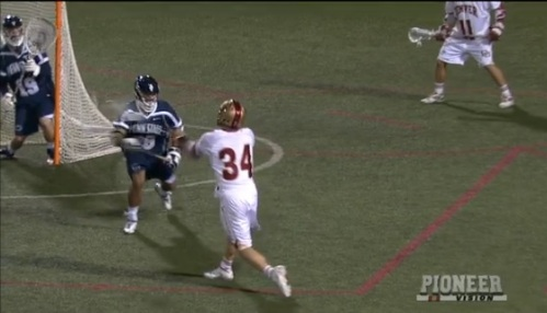 """Paced by a five-point performance from junior Erik Adamson (Anaheim Hills, Calif.), the No. 9 University of Denver men's lacrosse team stunned the No. 5 Penn State Nitany Lions 15-11 on Monday night at Peter Barton Lacrosse Stadium in front of 1,816 fans. The win bumps the Pioneers to 5-2 on the season, while Penn State falls to 3-2. """"I have to give these guys a lot of credit the way they pulled out this win tonight,"""" said head coach Bill Tierney. """"They pulled out two really tough wins against top-10 teams in just two days. This Penn State team is a really good lacrosse team and I'm so proud of our guys with the resolve that they showed. It's not easy to play a weekend like this, especially against two teams of this caliber, so I have to not only thank our players but our entire coaching staff for being able to not only get everyone physically ready, but also mentally prepared."""" Adamson finished with his third hat trick of the season, sixth of his career, as he netted four goals and tallied one assist for five points. The Big East Offensive Player of the Week followed up his six-goal performance against Notre Dame on Saturday by targeting five-of-his-eight shots on net, while also grabbing one ground ball and causing one turnover. Freshman Tyler Pace (Mission, B.C.) netted his first collegiate hat trick as he placed six-of-his-nine shots on cage. Junior Wesley Berg (Coquitlam, B.C.) and sophomore transfer Jack Bobzien (Littleton, Colo.) both finished with three points off two goals and an assist a piece. Junior Sean Cannizzaro (Cazenovia, N.Y.) and freshman Zach Miller (Steamburg, N.Y.) both finished with two points each of a goal and an assist, while senior Jeremy Noble (Orangeville, Ontario) and junior Mike Riis (Carlsbad, Calif.) both finished with a goal each. Riis' goal was the first of his career and the first by a Pioneer long-pole this season. Noble also finished with a game-high seven ground balls and a game-high three caused turnovers."""