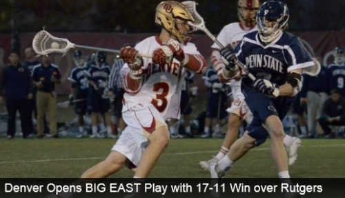 "Four Pioneers finished with four points each as the No. 5/5 University of Denver men's lacrosse team defeated Rutgers University 17-11 in front of a sell-out crowd of 2,232 fans at Peter Barton Lacrosse Stadium in snowy conditions on Saturday afternoon. The win is the first for the Pioneers in BIG EAST play as the league's newest members. ""Overall it was a good win,"" said head coach Bill Tierney. ""It was our first BIG EAST game. Our kids have never seen Rutgers and even though I've played against them during my days at Princeton, this is a whole new team. You could see it in the first quarter that everyone was dancing around one another trying to get their offenses to click. We definitely feel like there are things that we could have done better, but I'm proud of how this team fought to get the win, considering the weather conditions that we played in."" Freshman Tyler Pace (Mission, B.C.) led the team with four goals for his second career hat trick. Sophomore transfer Jack Bobzien (Littleton, Colo.) and freshman Zach Miller (Steamburg, N.Y.) both finished with three goals and an assist each for four points, both netting their fifth hat trick of the season. Senior Jeremy Noble (Orangeville, Ontario) also finished with four points off one goal and three assists, while junior Sean Cannizzaro (Cazenovia, N.Y.) scored two goals and tallied one assist for three points. Juniors Wesley Berg (Coquitlam, B.C.) and Erik Adamson (Anaheim Hills, Calif.), as well as freshmen Connor Flynn (Charlotte, N.C.) and Max Planning (Alexandria, Va.) all scored one goal each on the day to round out the scoring. Sophomore Chris Hampton (Bethesda, Md.) led the face-off corps with a 9-of-16 showing at the X, while sophomore Joe Bano (Dublin, Ohio) won 3-of-9 and sophomore Christian Thomas (Highlands Ranch, Colo.) won 2-of-5. Hampton also grabbed a career-high seven ground balls, leading the Pioneers. Junior Ryan LaPlante (Fort Collins, Colo.) earned his fourth win of the season with 11 saves in just 30 minutes of action, allowing only five goals. Senior captain Jamie Faus (Lakeville, Conn.) made two saves in 27:25 minutes of action, while sophomore Joey Gigantiello (Shamong, N.J.) made one save in 2:35 minutes."