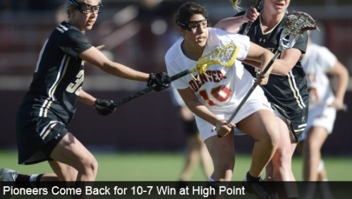 """University of Denver women's lacrosse senior Jenn Etzel (Bel Air, Md.) scored two goals and made one of her two assists in the final minutes, sparking a 10-7 comeback victory over High Point on Thursday afternoon. Sophomore Rachael McKinnon (Brooklin, Ontario, Canada) scored four goals, and junior Jill Remenapp (Woodbine, Md.) added a goal and three assists for the Pioneers (6-1, 2-0 MPSF). Redshirt junior goalkeeper Hannah Hook (Arnold, Md.) made 11 saves and also picked up an assist in the game, and junior Kiki Boone (Cherry Hills Village, Colo.) picked up five draw controls. """"It was a total team win,"""" head coach Liza Kelly said. """"Layne Voorhees had a great goal and a key knock down. Ali Proehl had a great stick check. Kiki was awesome on the draw, and we had some really strong plays in the attack that led to goals."""" Denver led 6-4 at halftime, but High Point (3-4) scored three goals in the first 4:01 of the second half to take a 7-6 advantage. Senior Meredith Harris (Middleburg, Va.) stopped the HPU run with a goal off a Remenapp pass with 19:19 remaining to tie it before Etzel scored the next two goals and assisted on one to McKinnon with 3:53 left to seal the victory. Denver next opens a three-game stretch at Peter Barton Lacrosse Stadium, starting with Brown on Monday at 2 p.m. MT."""
