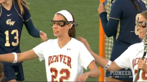 "University of Denver women's lacrosse senior Meredith Harris (Middleburg, Va.) had a hat trick and two assists, sending the Pioneers to a 10-9 win over George Washington on Friday evening. Senior Jenn Etzel (Bel Air, Md.) added two goals and an assist for the Pioneers (8-1, 2-0 MPSF), while Kiki Boone (Cherry Hills Village, Colo.), Jill Remenapp (Woodbine, Md.), Rachael Dillon (Mount Sinai, N.Y.) and Monica Lucas (Kensington, Md.) had two points each.  ""There were a lot of improvements from our last game,"" head coach Liza Kelly said. ""We did a really good job on our clears, and there was a lot of improvement in the draw controls for us. Defensively, I thought we did some really nice things, holding a good team under 10 goals. But we had a lot of uncharacteristic turnovers, and that's something we need to work on."" Denver jumped to a quick 2-0 lead, but George Washington (4-5) scored three goals in a 1:16 span to take a 3-2 lead with 21:45 left in the first half. The Pioneers, however, ended the half with four unanswered goals, including a pair by Harris, to take a 6-3 lead to halftime. After the Colonials scored to open the second half, Etzel and Harris scored, giving DU an 8-4 advantage with 23:36 to play. The teams alternated the next five goals before George Washington surged in the final 8:40. The Colonials scored three goals to cut the lead to just one goal with 34 seconds left. GW's Casey Dell'Isola won the final draw control, but DU defender Ali Proehl (San Diego, Calif.) forced a turnover to seal the game for the Pioneers. The Pioneers led 27-22 in shots, 12-8 in ground balls and 11-10 in draw controls. Denver concludes the current homestand with a Mountain Pacific Sports Federation meeting with Saint Mary's on Sunday at 1 p.m. MT."