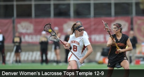 "University of Denver senior Meredith Harris (Middleburg, Va.) led the Pioneers with four goals and an assist in DU's 12-9 victory over Temple  Saturday afternoon at Peter Barton Lacrosse Stadium. The Pioneers improved to 4-1 overall on the season, while Temple drops to 2-4 overall. ""I feel like we played well in early on, but we still have things we need to work on,"" said head coach Liza Kelly said. ""We have a week off since the girls have exams, which will give us some time to work on things."" Denver would not let up the lead after scoring four goals in the first five minutes of play. Harris opened DU scoring with a goal just 1:15 into the game. Junior Jill Remenapp (Woodbine, Md.) recorded two goals, three assists and five groundballs, while sophomore Monica Lucas (Kensington, Md.) scored twice. The Pioneers led 9-4 at the half and outshot the Owls 18-9 in the first 30 minutes. Redshirt junior Hannah Hook (Arnold, Md.) made 14 saves, while the Pioneers converted 13-of-14 clear attempts. Temple's Nicole Tiernan led the Owls with three goals and an assist in the game.  The Pioneers begin a two game road trip when they will travel to Rock Hill, S.C., to take on Winthrop on Monday, March 17 at 2 p.m., MT. They will wrap up the trip Thursday, March 20 in High Point, N.C., for a 4 p.m., MT start."