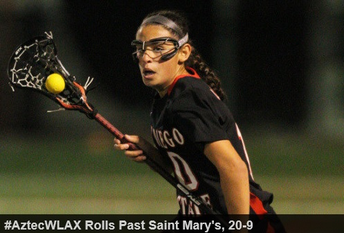 "The San Diego State women's lacrosse team continued its winning ways on Sunday afternoon, earning a road victory over Mountain Pacific Sports Federation (MPSF) foe Saint Mary's, 20-9, at SMC Recreation Field.  The Aztecs (4-0, 2-0 MPSF) are off to the best start in program history, as five different players recorded hat tricks on Sunday. Senior Meris Walsh, junior Lauren Maack and sophomores Felice Artuso, Andrea Killebrew and Katie Gill scored three goals apiece, as SDSU improved to 4-0 all-time against the Gaels. Junior Bailey Ewing also added two goals, both of which came during SDSU's 11-0 run to take control of the game after a slow start.  ""We started off flat and Saint Mary's took advantage of that because they're a fast, aggressive team,"" head coach Kylee White said. ""We just rallied together and figured out what we needed to do. It's been the story of the season so far - fighting through adversity.""  Junior Grace Korandovich recorded a goal, an assist, four draw controls and three caused turnovers in her second-consecutive strong performance, while junior Christina Ricciardulli finished with three caused turnovers, five draw controls and two groundballs, and freshman Vickie Porter had six draw controls. Freshman goalkeeper Katie Merritt made her first-career appearance, playing 36 minutes in the net and tallying six saves.  The Gaels raced out to a 3-0 lead and were ahead 5-2 before Walsh scored unassisted and Artuso capitalized on a free-position opportunity to pull within one. The Aztecs later went on a 3-0 scoring spurt to take the lead, as Maack's goal off a pass from Gill made it 7-6 with 14:51 left in the first half.  After Saint Mary's (0-3, 0-2 MPSF) tied it less than three minutes later, San Diego State scored the next 11 goals to take a commanding lead, 18-7. The Aztecs have started MPSF play 2-0 for the second-straight year, as everyone of the roster played on Sunday.  ""It's a great way to start conference play,"" White said. ""Having a complete team effort and having everyone contribute was awesome.""  San Diego State outshot Saint Mary's 41-22 (28-10 in the first half), had a 19-11 edge in draw controls and an astounding 12-1 advantage in free-position shots. Senior Allie DeBruhl scored a game-high four goals for the Gaels, while freshman Megan Zummo had two assists, five caused turnovers and six draw controls.  SDSU plays host to No. 10/9 Boston College in its home opener on Saturday, March 8, beginning at 1 p.m. PT at Aztec Lacrosse Field."