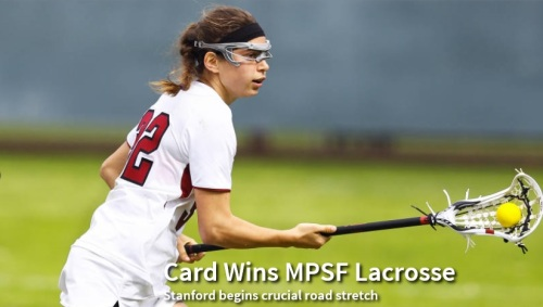 "Stanford scored the first eight goals and coasted to a 19-5 victory over Fresno State in the Cardinal's Mountain Pacific Sports Federation women's lacrosse opener Wednesday at Bulldog Stadium. The Cardinal (3-1 overall, 1-0 MPSF), ranked No. 19 in the IWLCA coaches' poll, got three goals from freshman Alex Poplawski and got goals from 13 players against Fresno (1-4, 0-2). Rachel Ozer, Mackenzie Tesei, Elizabeth Cusick, and Kelsey Murray had two apiece. Stanford was able to use all available players, which was a benefit as it began a road stretch of three games in five days. The team leaves early Thursday morning for a Friday game at No. 11 Towson (Md.), and follows at No. 14 Georgetown on Sunday. ""I'm really pleased with the dominance our team came out with, especially on draw controls,"" Stanford coach Amy Bokker said. ""A lot of our younger players played with confidence tonight. We're looking to carry that confidence into the weekend as we prepare for two great opponents."" Two goals by the freshman Murray in the first five minutes help spark an 8-0 lead through the first 27 minutes. And four goals in the final 1:25 of the half – two each by Ozer and Cusick – gave the Cardinal a 15-2 halftime lead. Stanford dominated possession thanks largely to winning 19 of 25 draws, with five won by Tesei and three each by Hannah Farr and Lucy Dikeou. Farr was one of the few Stanford players not to score, snapping her streak of goal-scoring games at 12."