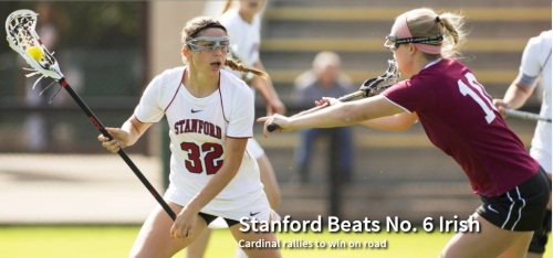 "Lucy Dikeou scored four goals, including the winner with 4:05 left, to give No. 13 Stanford an 11-10 victory over No. 6 Notre Dame on Saturday. With piles of snow lining the field on a chilly day, Stanford (8-1) scored four consecutive goals to erase a 9-6 second-half deficit.  ""They're fighters,"" Stanford coach Amy Bokker said. ""They go down swinging every time they step on the field."" With the score tied, 10-10, and Stanford up a player up because of a Notre Dame penalty, Dikeou found an opening on the right side and bounced a shot past goalie Liz O'Sullivan. ""Lucy has great speed and is really quick with the stick,"" Bokker said. ""She creates a lot of opportunities, not just for herself, but for her teammates."" Stanford's Hannah Farr won the draw, but the Cardinal was unable to run out the clock when a missed shot gave Notre Dame possession. In the tense final stretch, the teams exchanged turnovers before Stanford's Megan Lerner drew a charge with 17 seconds left and the Cardinal was able to run out the clock. During the turnover sequence, Adrienne Anderson defended one of Notre Dame's top offensive threats out of the play. ""It was good team defense,"" Bokker said. ""They took good angles to the ball and were ready to help if they needed to."" Indeed, Lerner and Rachel Kalick closed down on Notre Dame's Stephanie Toy, with Lerner getting to the spot first to draw the foul and create the turnover. Lerner then leaped into the air in triumph. Notre Dame (8-4) represented the highest ranked team Stanford will play during the regular season. The game also was a rematch of last year's 7-6 Stanford victory in the first round of the NCAA tournament, Stanford's first-ever NCAA victory. The game featured four lead changes and four ties. However, Notre Dame appeared to take command when it took a 9-6 lead with 21:12 left on the 29th goal of the season and third of the game by freshman Cortney Fortunato.  Stanford countered with a goal by freshman Kelsey Murray, who scored twice within 6:06 to draw Stanford even at 9-9, and Alexandra Crerend capped the rally by putting the Cardinal in front, 10-9, with 9:49 left.  ""Possession was the key,"" Bokker said. ""In the first half, we were losing draw controls."" Stanford made adjustment, with Ashlynn Goerz playing a big role. The freshman earned two draw controls herself, but also did a strong job boxing out and allowing her teammates to gain possession.  Dikeou's four goals tied her collegiate career high. She also caused four turnovers, had two ground balls, and earned a draw control. Murray and Farr each scored twice.  The rally was similar to Stanford's rally from a 10-4 deficit at then-No. 14 Georgetown on the way to an 11-10 double-overtime victory on March 9. In fact, Stanford has beaten all four opponents currently ranked in the IWLCA top 20 and could be in line to play host to an NCAA tournament game if the Cardinal can take care of business in Mountain Pacific Sports Federation play. That task, however, will be difficult, with a visit from 2013 regular-season champion Denver on Friday (7 p.m.) at Laird Q. Cagan Stadium."